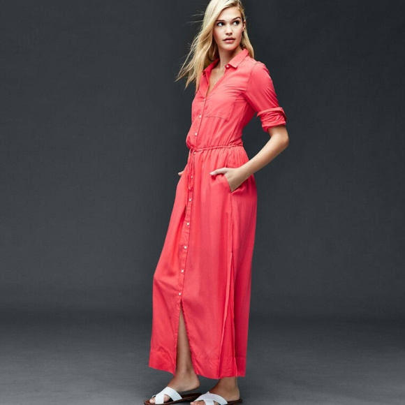 GAP Dresses & Skirts - GAP/Long Sleeve Maxi Shirt Dress in Rose Bush/XXS